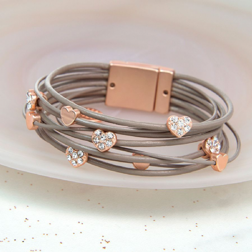 Leather multi strand bracelet - rose gold hearts